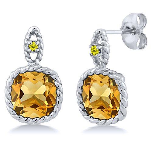 Earrings Citrine Diamond And (6.03 Ct Cushion Yellow Citrine Canary Diamond 10K White Gold Earrings)
