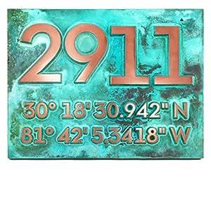 Latitude longitud Dirección número placa 14x 11–Raised Verdi de cobre con revestimiento de metal