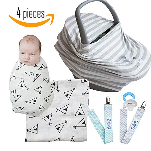 (Baby Shower Gift: Carseat Cover, Newborn Muslin Swaddle Blanket, Pacifier Clip, Nursing Cover 7-in-1 Nursing Cover, Grey Stripe by The MommyWrap)