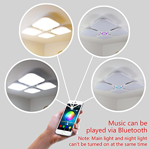 LED Ceiling Light Shade with Bluetooth Sound Speaker, APP Remote ...