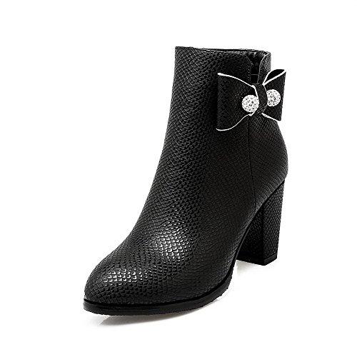 Black High Boots Low Heels top Zipper Women's AmoonyFashion Solid PU 1gzYv