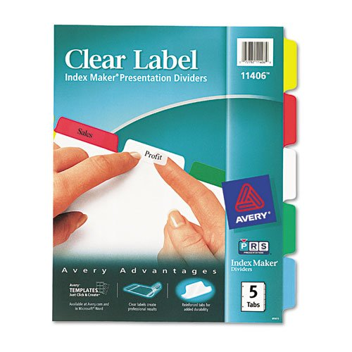 Avery Index Maker White Dividers, Multicolor 5-Tab, Letter Avery Index Maker White Dividers