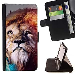 Momo Phone Case / Flip Funda de Cuero Case Cover - León abstracta Majestic Gato - LG G4c Curve H522Y (G4 MINI), NOT FOR LG G4
