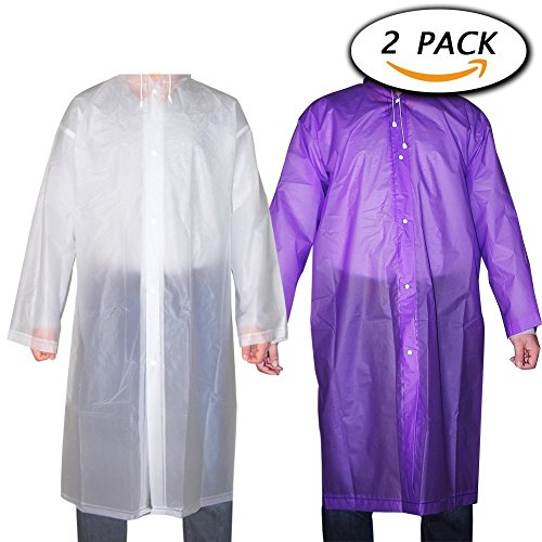 Alotm 2 Pack Reusable Drawstring Raincoat Portable Rain Poncho with Hood and Sleeves for Unisex Adults Women Men, for Theme Parks, Trip, Camping or School Outdoor Events (Adult Clothing For Women)