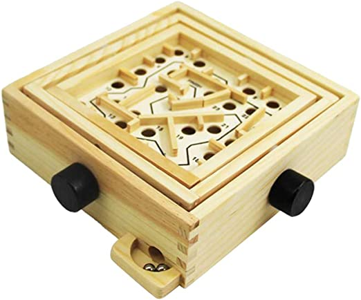 NUOBESTY Wood Labyrinth Table Maze Balance Board Table Maze Solitaire Game for Kids and Adults