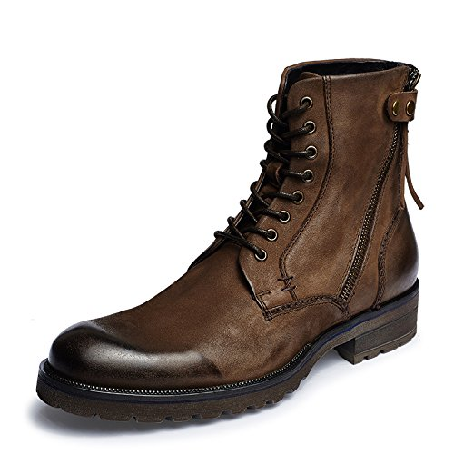 Aide Baou Men's Fashion Military Ranger Nubuck Leather Lace-up and Side Zip Ankle Boots