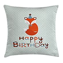 Birthday Decorations Throw Pillow Cushion Cover by Ambesonne, Cute Fox Sleeping on Dotted Backdrop Greeting Message, Decorative Square Accent Pillow Case, 20 X 20 Inches, Orange Light Blue Beige