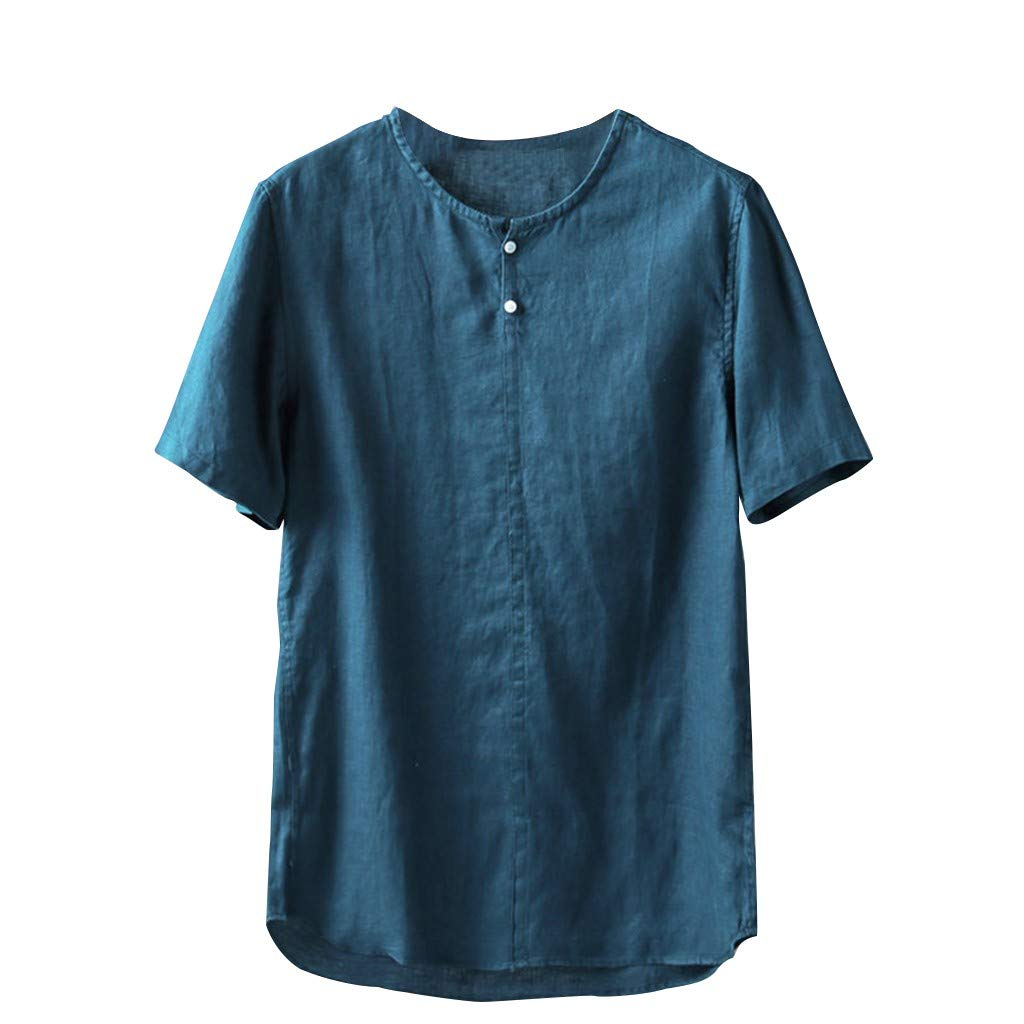 Men's New Summer Top, Sharemen Button Cotton and Linen Short-Sleeved Comfortable Tops Solid Color Loose Fashion Shirt(Blue,L)
