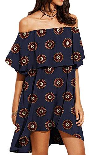 Dress Sexy Off 4 Mini Jaycargogo Shouder Party Ruffer Women's Prints nPp5EqCx8w