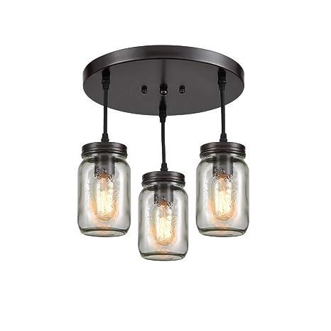 brand new cc899 224bc EUL Mason Jar Pendant Lighting Semi Flush Mount Ceiling Light with Clear  Glass Shade Oil Rubbed Bronze - 3 Lights