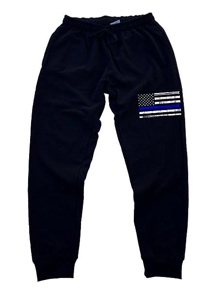 cdca94639d8386 Men's Thin Blue Line Police Flag Black Fleece Gym Jogger Sweatpants Small  Black