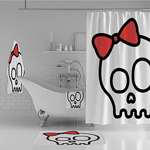 iPrint Bathroom 4 Piece Set Shower Curtain Floor mat Bath Towel 3D Print,Girl with Lace and Halloween Dead Head Teen,Fashion Personality Customization adds Color to Your Bathroom. -