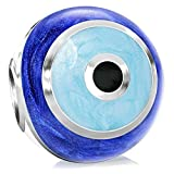 Authentic BELLA FASCINI Evil Eye of Protection Bead Charm - Watchful Blue - 925 Silver - Fits Bracelets