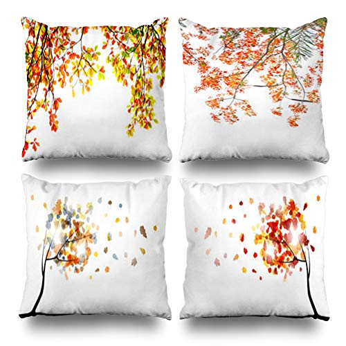 Pakaku Set of 4 Decorativepillows Case Throw Pillows Covers for Couch/Bed 18 x 18 inch,Fall Leaves White Home Sofa Cushion Cover Pillowcase Gift Bed Living Home