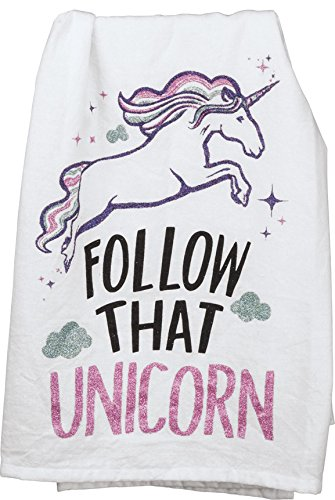 Primitives by Kathy LOL Made You Smile Dish Towel Glitter Unicorn