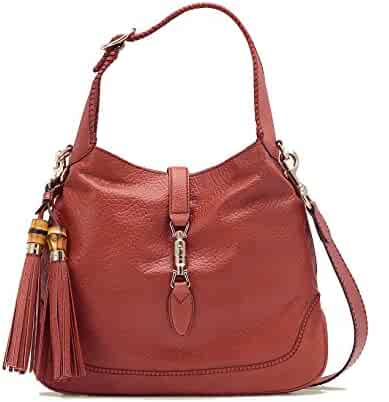 b1645862eb6e Gucci Pink Coral New Jackie Leather Shoulder Bag With Bamboo Tassel Large