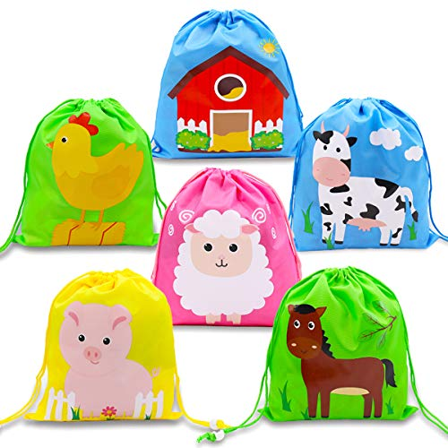Farm Animal Barnyard Drawstring Backpacks Party Favor Goodie Bags For Boys Girls Birthday Party Supplies Baby Shower Gifts 12 Pack ()