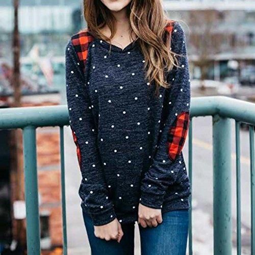 Azul parte superior suéter cuello mujer de lunares OverDose blusa casual con redondo PSnRHz