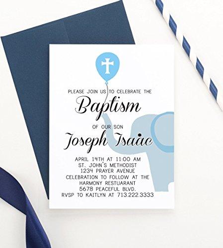 Amazoncom Elephant Baptism Invitation Elephant Christening