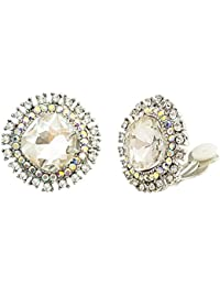 Clear AB Austrian Crystal Statement Non Pierced Clip on Stud Earrings Iridescent Color Silver Tone