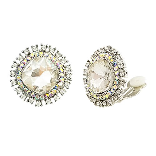 SELOVO Clear AB Austrian Crystal Statement Non Pierced Clip on Stud Earrings Iridescent Color Silver Tone