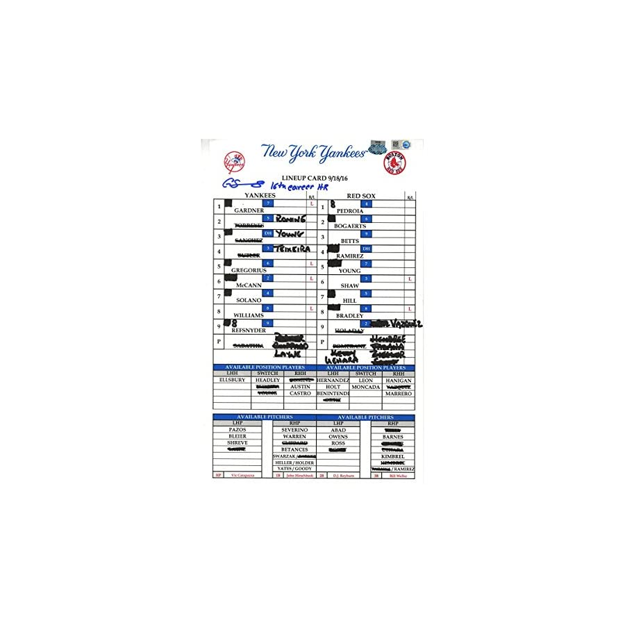 Gary Sanchez Signed Yankees at Red Sox 9 18 2016 Game Used Lineup Card w/ 16th Career HR Insc (JC101997)