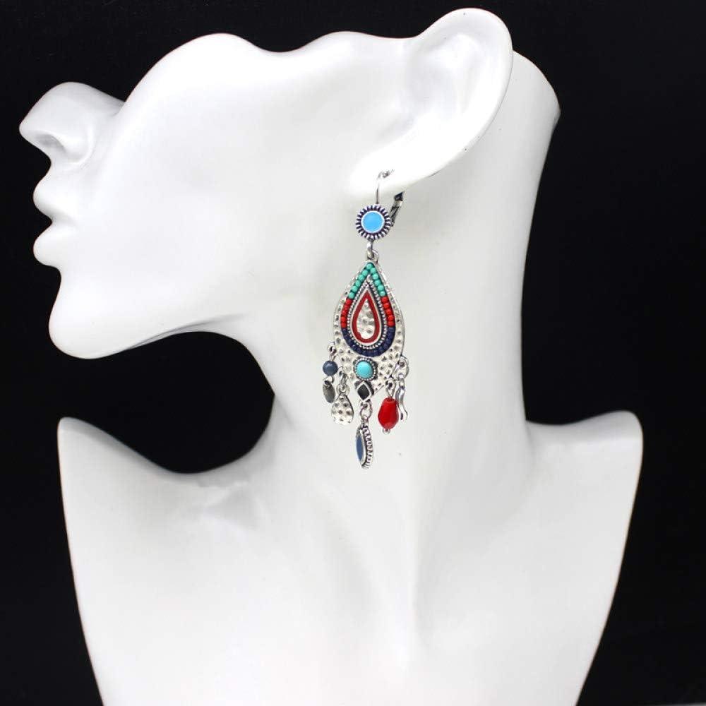 TGHYB Pendientes Mujer,Plata Vintage Gota De Cadena Geométrica En Forma De Gota Turquesa Nación Elegante Encanto Cuelga Anillo Colgante Pendientes para Hombres Damas Niña Regalos