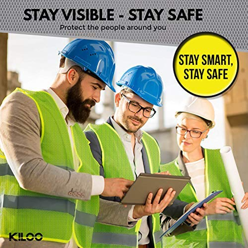Reflective Safety Vests - Pack of 12 | High Visibility Neon Yellow Mesh | Fits Men and Women | For Construction and Surveyor Work, Security, Emergency, Event Volunteers, Traffic and Parking Workers by Kiloo (Image #5)