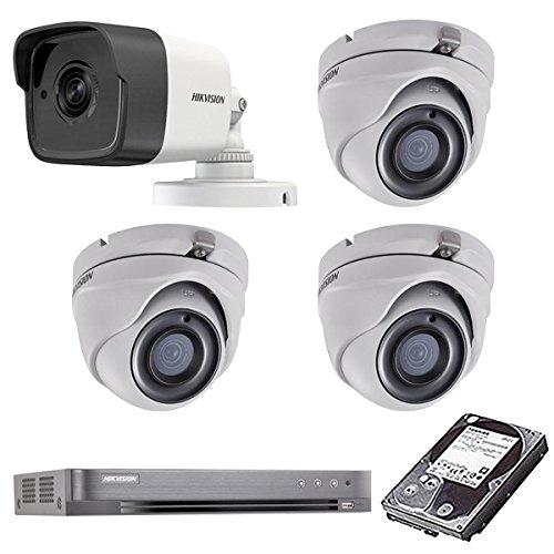 HIKVISION(ハイクビジョン) 防犯カメラ 屋外 屋内 ハイスペック 500万画素 カメラ4台 3TB HD-TVI 防犯カメラセット 5mp-set-c4-3tb B079GJ87VB 屋外用1台屋内ドーム3台 3TB 3TB 屋外用1台屋内ドーム3台