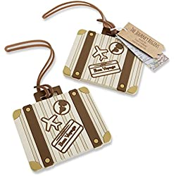 Kate Aspen Vintage Suitcase Bundle of 12 Luggage Tags, Multi-Colored