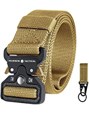 Fairwin Tactical Belt for Men, Military Style Nylon Web Belt with Heavy-Duty Quick-Release Metal Buckle