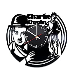 Charlie Chaplin Vinyl Record Wall Clock, Silent Film Comedian Handmade Gift Idea Any Occasion, Original Home Room Kitchen Decor, Vintage Modern Style Theme