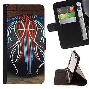 Momo Phone Case / Flip Funda de Cuero Case Cover - Bowling Tatuajes Modelo abstracto ladrillo - Motorola Moto E ( 2nd Generation )