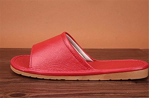 Wooden Women Floor Smelly Rouge Men Cowhide TELLW Corium W Spring Anti Summer Leather for Slippers Autumn Vin wHzOUx8q