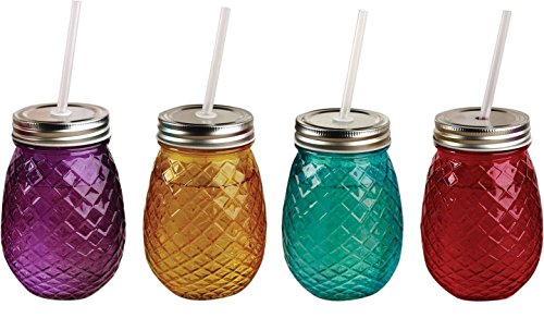 (Circleware 69074 Mason Jars Drinking Glasses with Metal Lids and Hard Plastic Straws, Set of 4 Glassware for Water Beer & Kitchen & Home Decor Bar Dining Beverage Gifts, 16 oz, Pineapple-Colors)