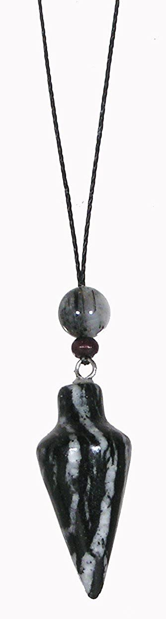 Pendulum / Zebra Jasper / Chakra Balancing Necklace / Naga Land Tibet Sacred Stones Amulet