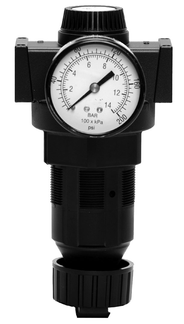 Ross Controls 5X00B4047 Full-Size Series Diaphragm Regulator, Self-Relieving, Reverse Flow, 0-125 (0-8.6) psi, 0-200 (0-13.8) Gauge, Port 1 Threaded 1/2'', Port 2 Threaded 1/2'', NPT
