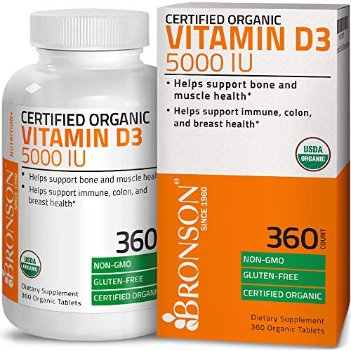 Bronson Vitamin D3 5000 IU Certified Organic Vitamin D Supplement, Non-GMO Gluten Free USDA Certified Formula, 360 Tablets