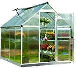 Palram Nature Series Mythos Hobby Greenhouse - 6' x 8' x 7', Silver