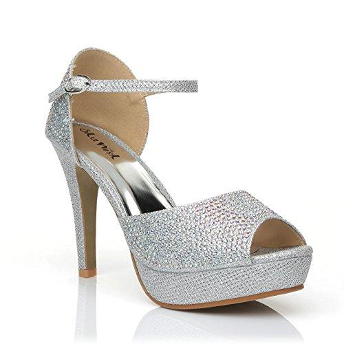 argentée Glamour pour UK ShuWish Sandales Maille femme argent qHwxt0g5tO