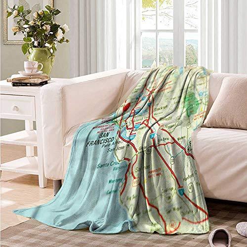 Oncegod Soft Warm Coral Fleece Blanket Map San Francisco Area Vintage Sofa Warm Bed 60