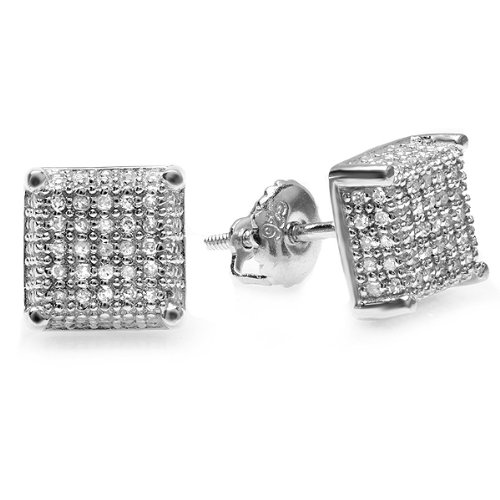 1.00 Carat (ctw) Sterling Silver Diamond Dice Shape Ice Cube Mens Hip Hop Iced Stud Earrings by DazzlingRock Collection