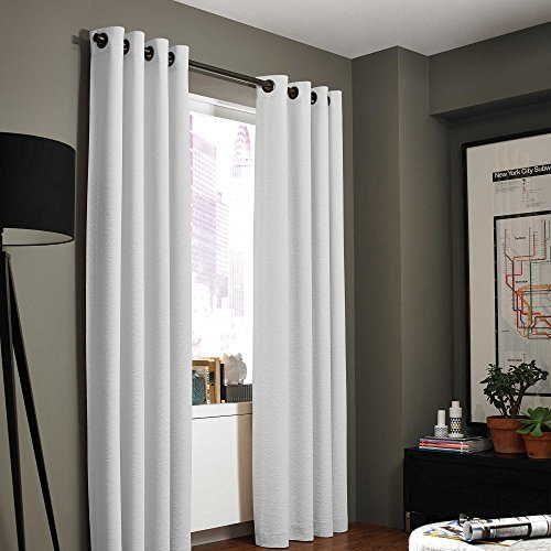 Gorgeous Home (#32) 1 PANEL SOLID PLAIN THERMAL FOAM LINED BLACKOUT HEAVY THICK WINDOW CURTAIN DRAPES SILVER GROMMETS (PURE WHITE, 108' LENGTH)