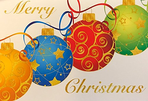 (10) Glitter Embellished Christmas Ornaments Holiday Cards - White Envelopes - May your Christmas be Merry and Bright (Be Christmas Card Joyful)