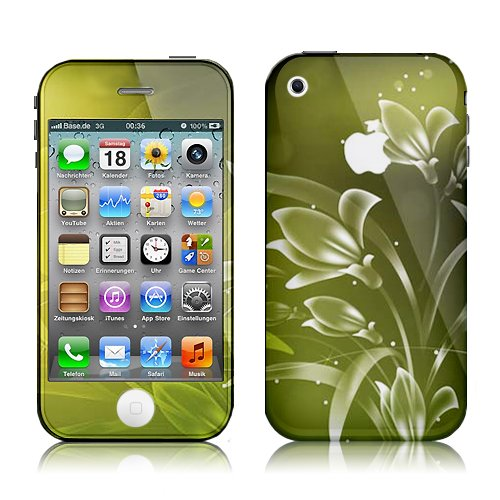 Xtra-Funky Exclusive Green & White Floral Design Fashionable High Quality Protective Decal Skin Cover Vinyl Sticker For Apple iPhone 3 / 3G / 3GS
