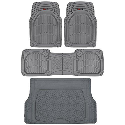 Motor Trend 4pc Gray Car Floor Mats Set Rubber Tortoise Liners w/ Cargo for Auto SUV Trucks (Ford Explorer Carpet Kit)