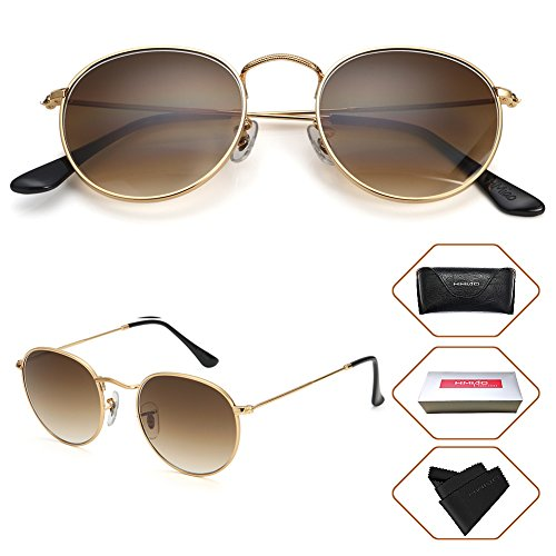 Small Round Vintage Mirror Lenses UV Protection Unisex Sunglasses by HMIAO (Gold Frame, Gradation Brown) ...