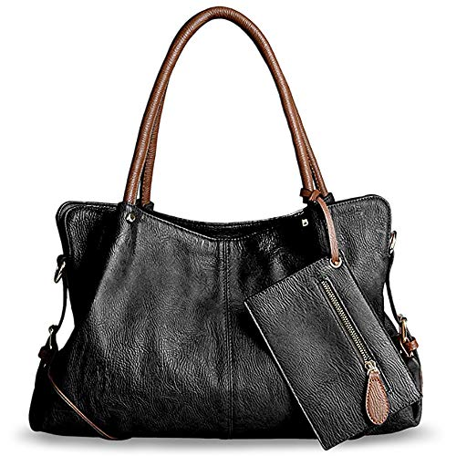 Brown Leather Dark 3 Piece (UTO Women Hobo Purse 3 Pieces Handbag Set PU Leather Tote Bag Satchel Shoulder Bags with Wristlet Wallet Black)