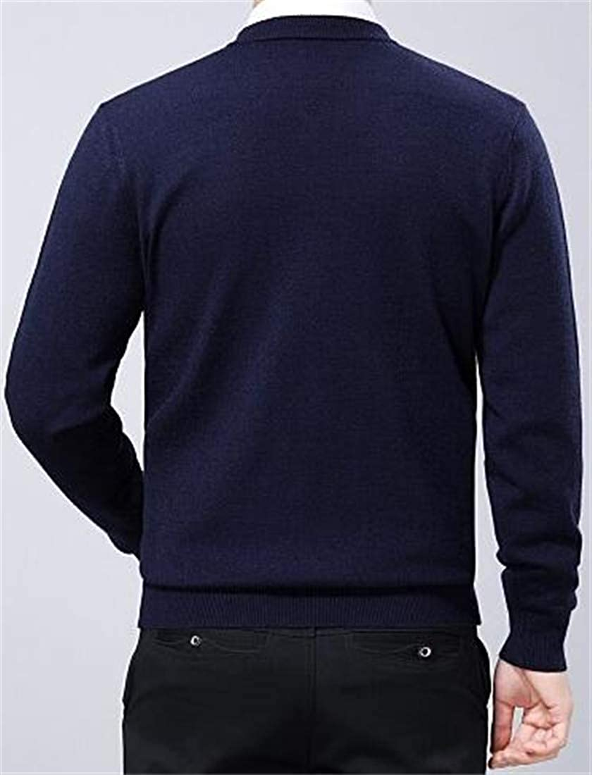 Joe Wenko Men Solid Color Warm Jumper Thickened Pullover Knitted Fit Sweater
