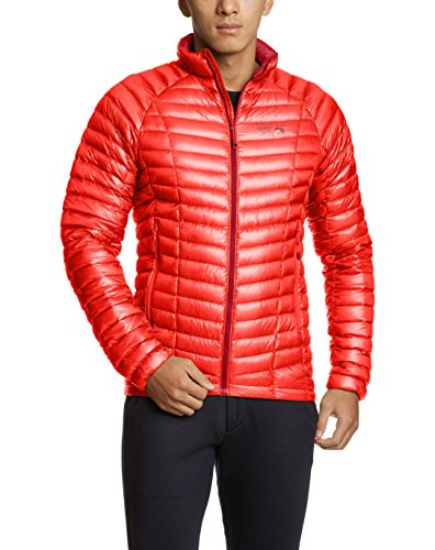 Mountain Hardwear Mens Ghost Whisperer Insulated Down Water Repellent Jacket, Non-Hooded - Cherrybomb - L